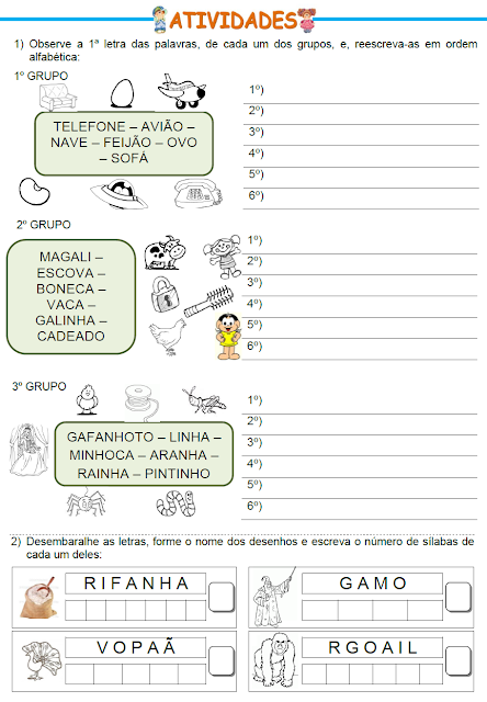 Ordem alfabética e Ordenando letras para formar palavras