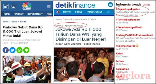 Ketika Capres 01 &#39;Ditampol&#39; Presiden Jokowi,  <i>#CapresLupaIngatan</i> Puncaki Trending Topic