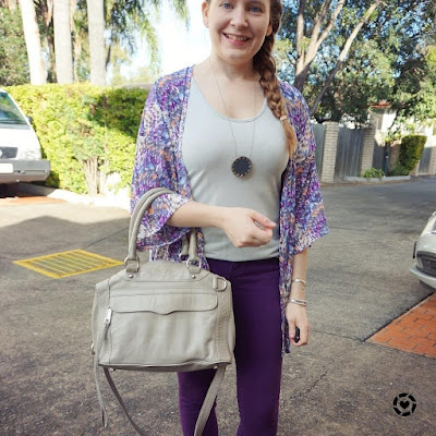 awayfromblue instagram purple kimono skinny jeans rebecca minkoff MAM bag