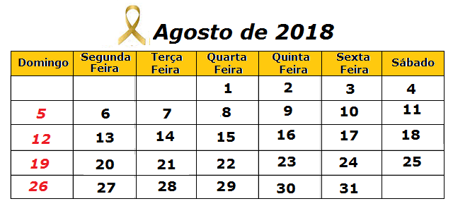 calendario agenda 08/2018