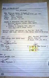 Surat pernyataan Honda Mitra Jatiasih