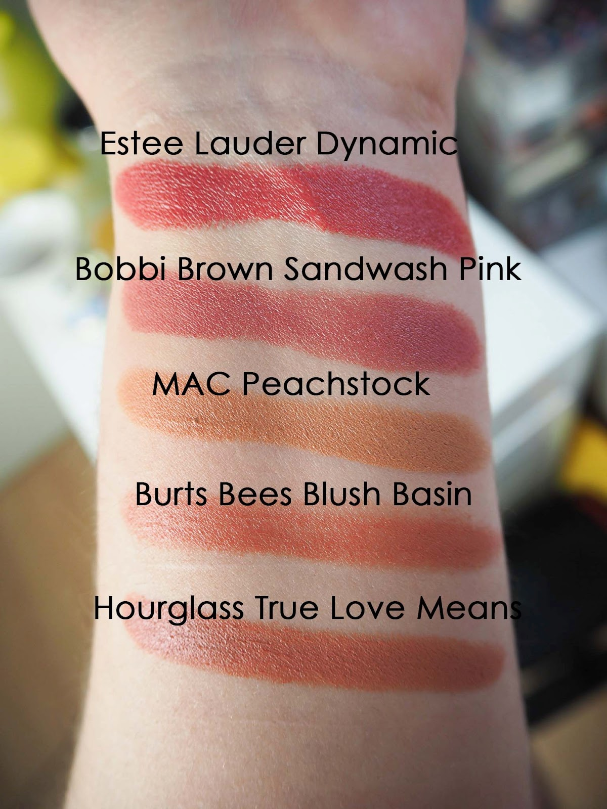 Moving On From Matte (Lipsticks) MAC Peach stock , Bobbi Brown Sandwash Pink, Estee Lauder Dynamic , Burts Bees blush basin , Hourglass confession Swatches true love means, swatch