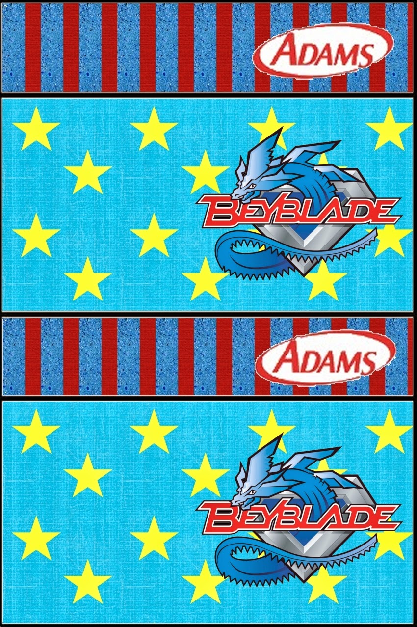 Etiqueta Golosina Adams de Beyblade para Imprimir Gratis.