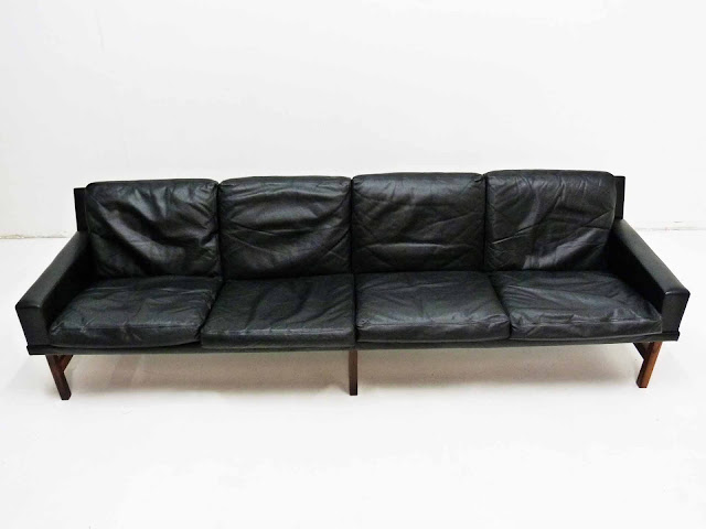 Sven Ellekaer Danish Modern Rosewood & Leather Sofa 3