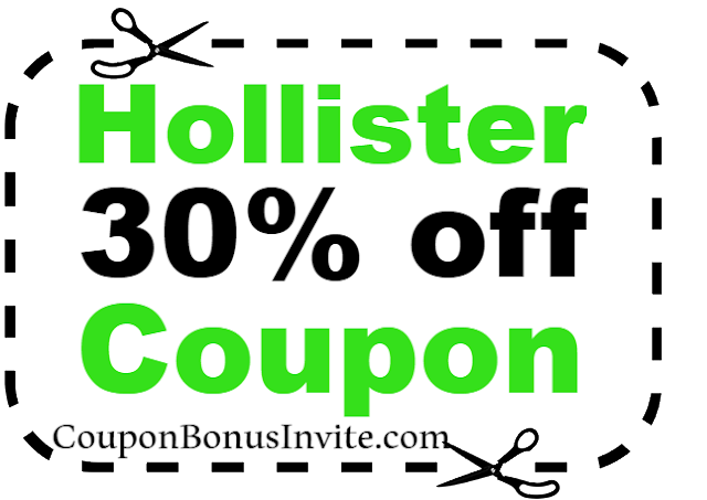 30% off Hollister Printable Coupon & Promo Code 2018 Jan, Feb, March, April, May, June, July