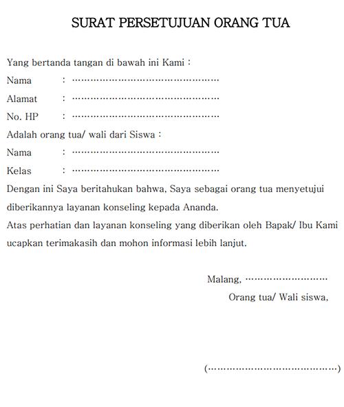 Contoh Surat Persetujuan Orang Tua Untuk Melakukan Konseling
