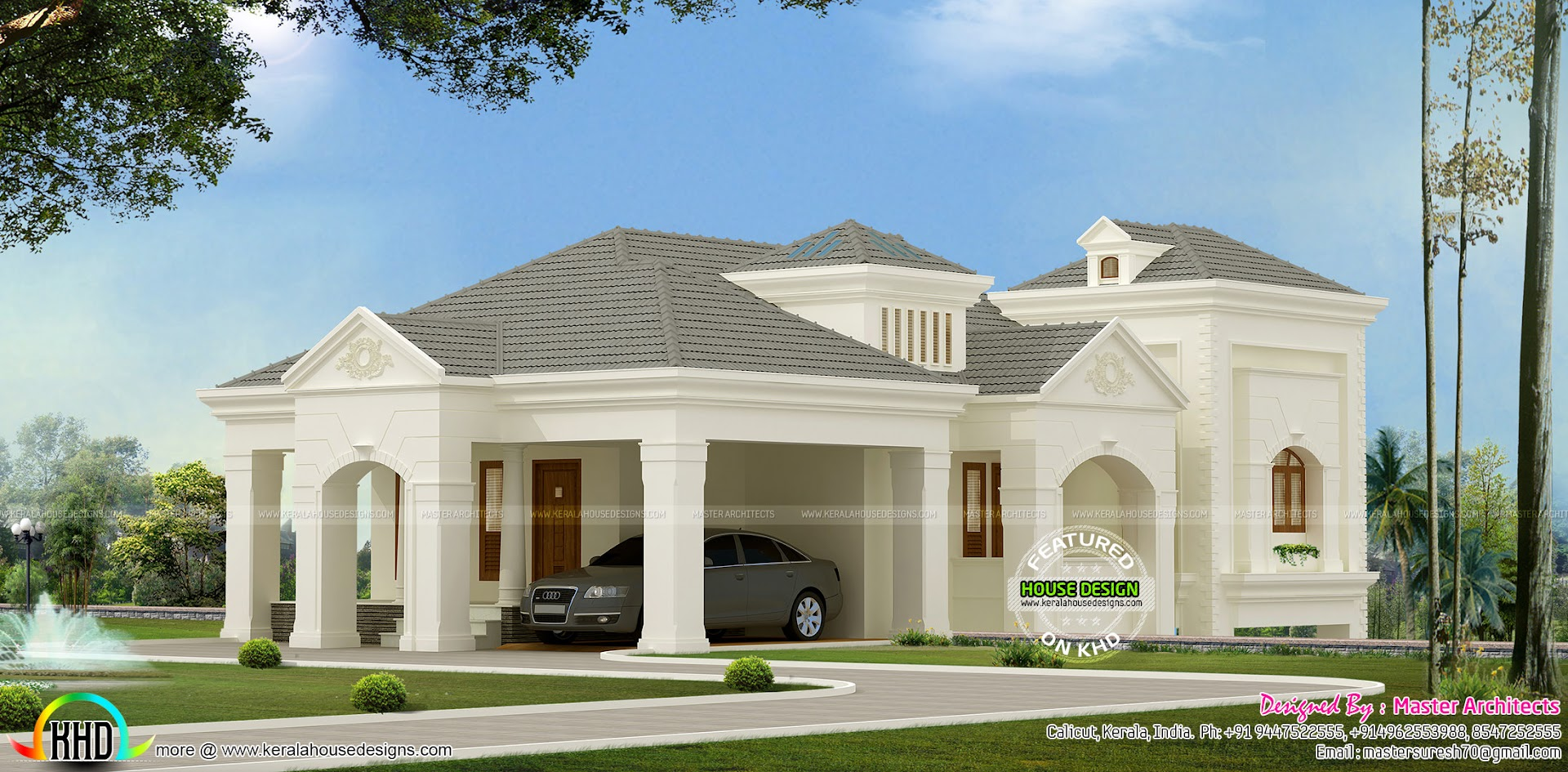 Cellar type home by master architects kerala home design for Colonial style house plans kerala