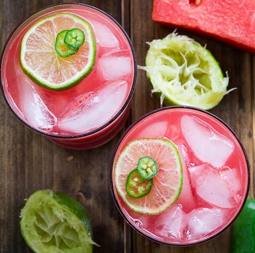 Jalapeño Watermelon Margaritas #drink #summer