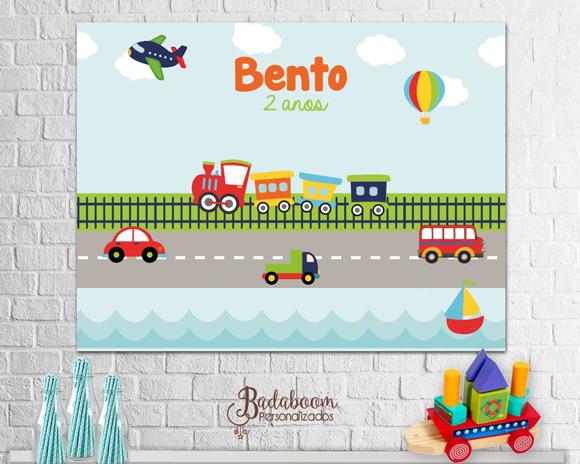 Meios de Transporte, Painel, festa, infantil, arte, digital, carrinho, ônibus, avião, barco, caminhão, balão, trem, banner, arte personalizada,