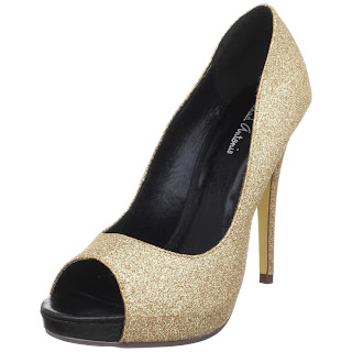 gold and glitter heels shoe