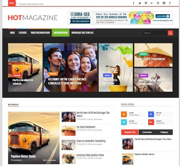 Hot mag Free Blogger Template