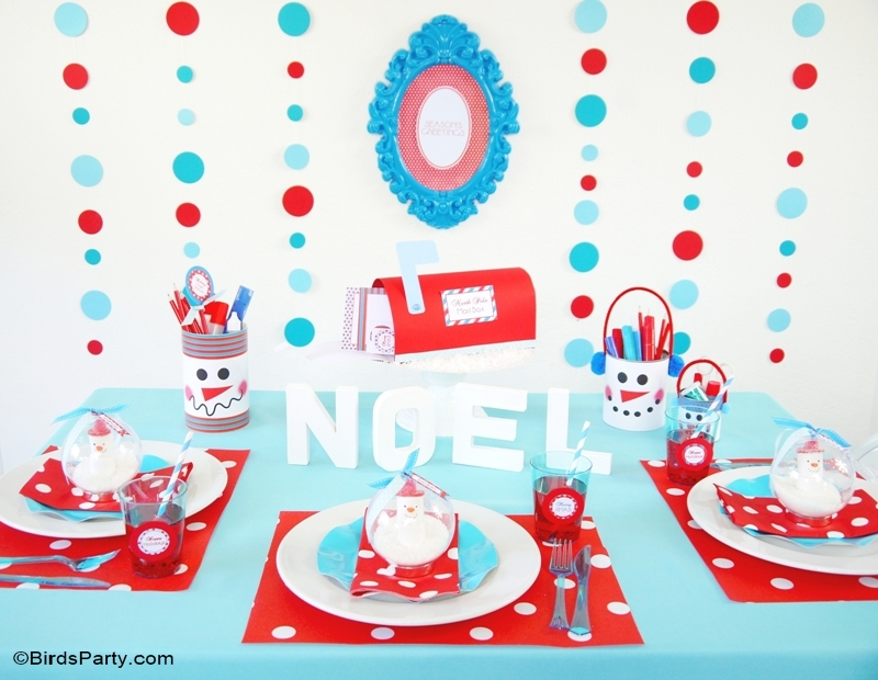 Kids Holiday Tablescape: Red & Teal Snowman Christmas DIY Decor with FREE Printables