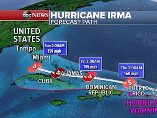 Hurricane Irma now at Category 5