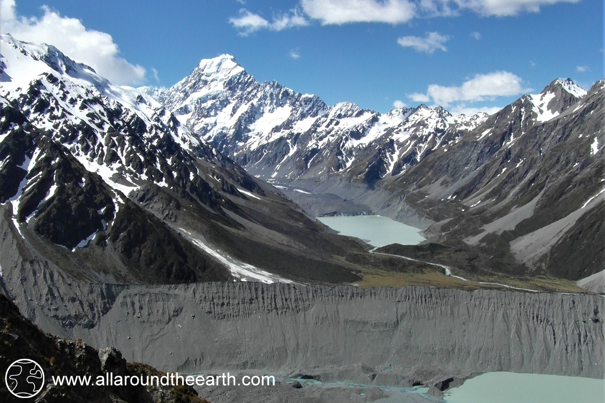 View on Mt. Cook/Aoraki from the Sealy Tarns, South Island of New Zealand