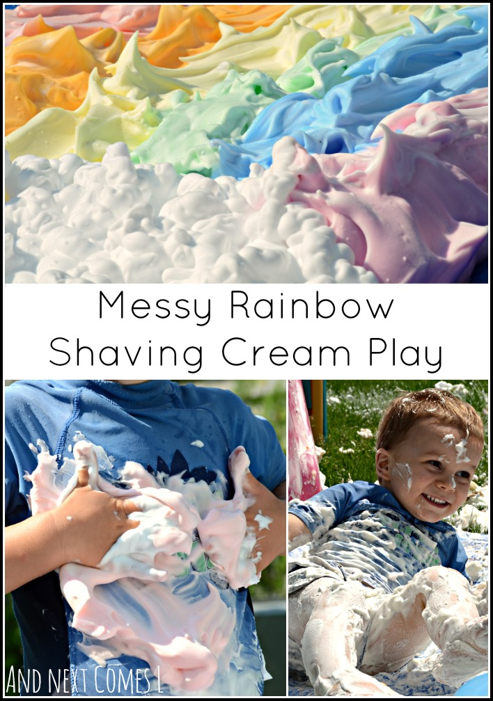Messy sensory play for kids with a giant shaving cream rainbow (and a slide!) from And Next Comes L