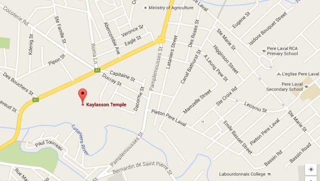 Mapa del Templo Tamil Kaylasson en Abercrombie Mauricio