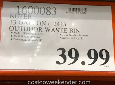Deal for the Keter 33-gallon Outdoor Waste Bin at Costco