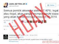 Hoax Zara Zettira  IT KPU Mempengaruhi Hasil Pilpres 2014