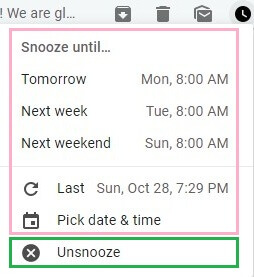 Extend snooze or unsnooze emails