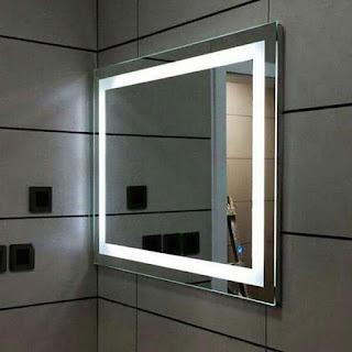 foto de espelho com luz de led mais jateamento