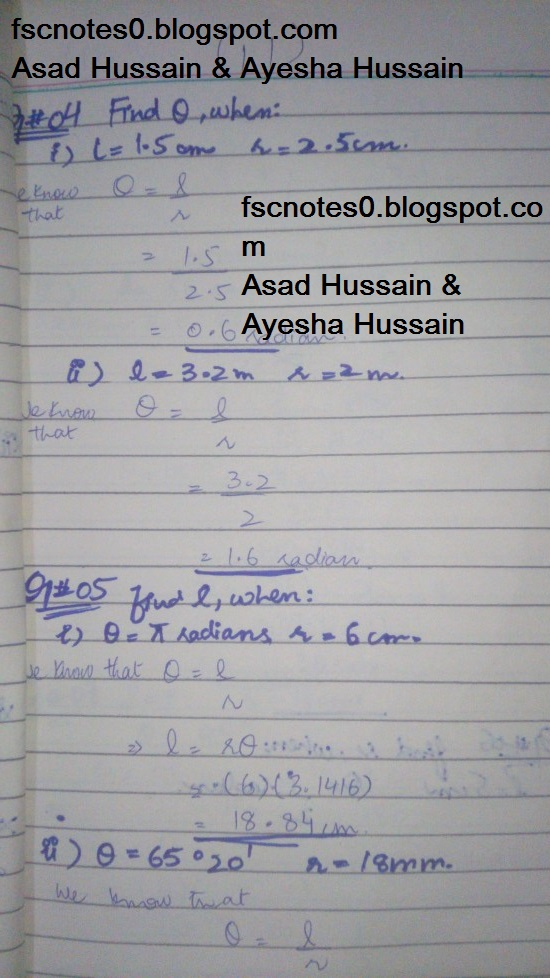 FSc ICS FA Notes Math Part 1 Chapter 9 Fundamentals of Trigonometry Exercise 9.1 Question 4 - 7 by Asad Hussain & Ayesha Hussain