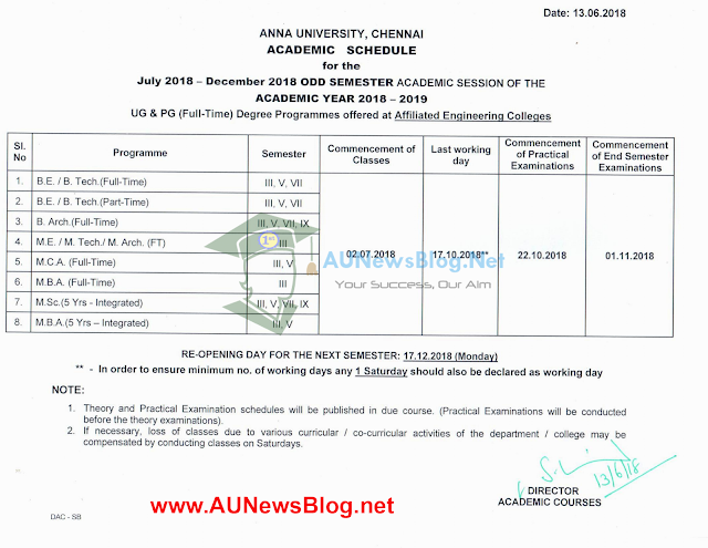 Anna University Academic Schedule July to December 2018 Full Schedule