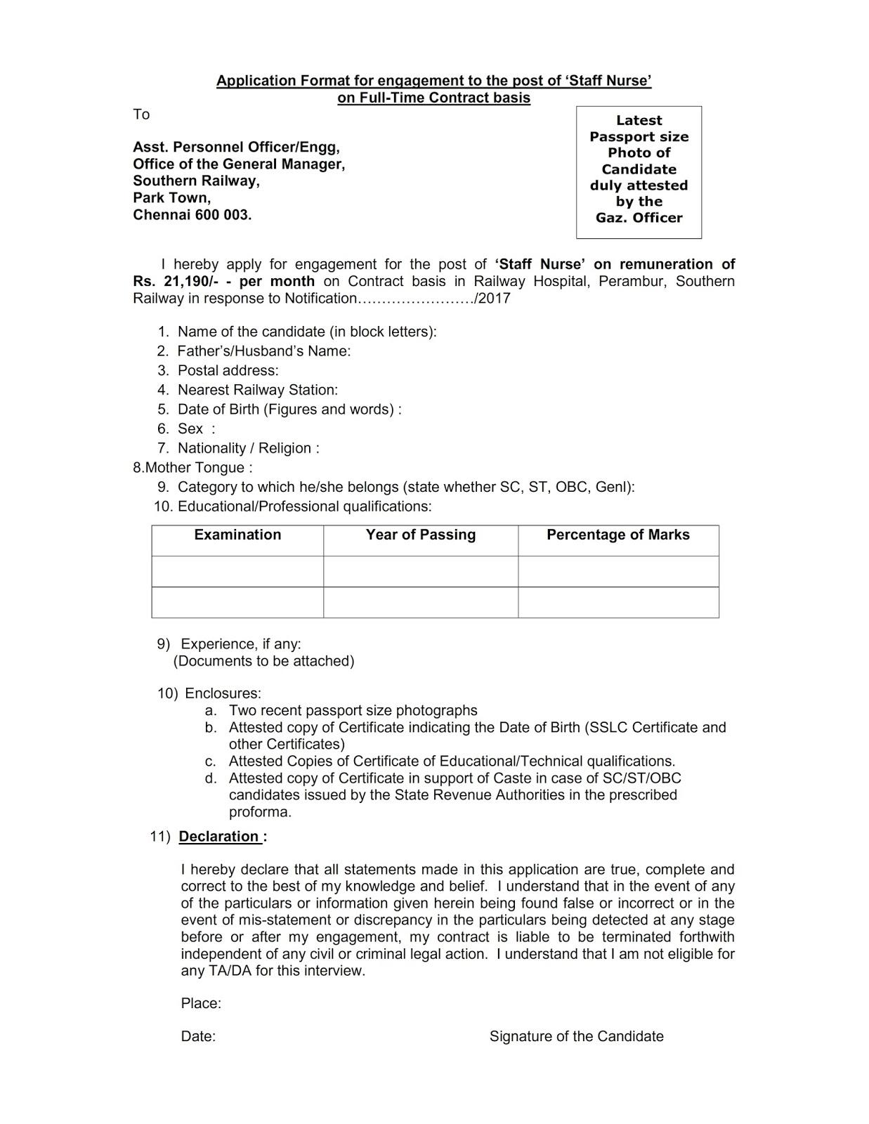 Southern railway recruitment 2017 for medical jobs railway sr nurse job aiddatafo Images