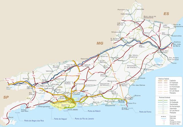 Mapa rodoviário do estado do Rio de Janeiro