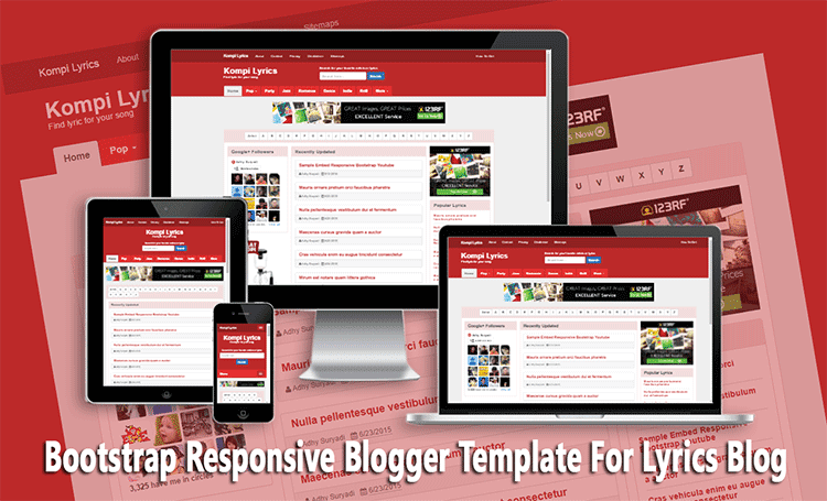 Bootstrap Responsive Blogger Template For Lyrics Blog
