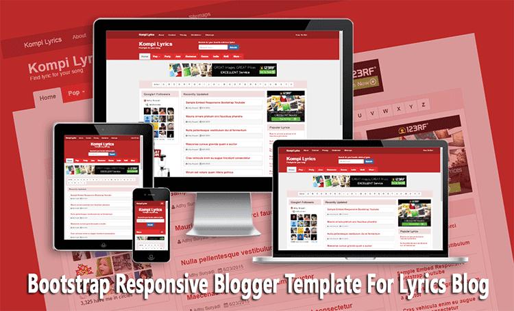 Bootstrap Responsive Blogger Template For Lyrics Blog