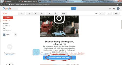 cara verifikasi email instagram lewat google