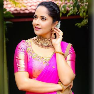 Indian TV Girl Anasuya Bharadwaj Stills in Traditional Pink lehenga Choli (4)
