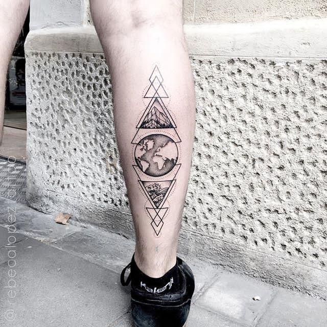 back side leg eart tattoo