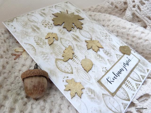 jesienna karteczka pełna liści - tekturki EKO-DECO