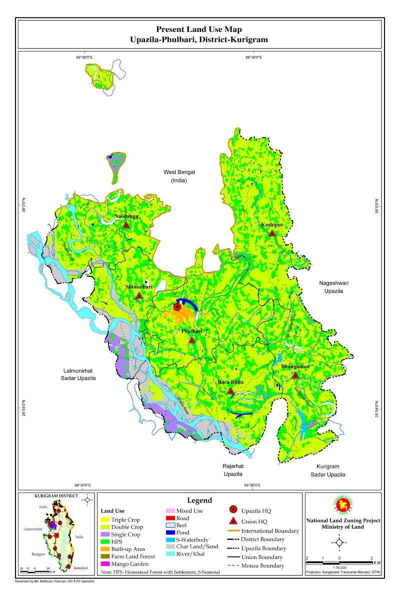 Phulbari Upazila Mouza Map Kurigram District Bangladesh