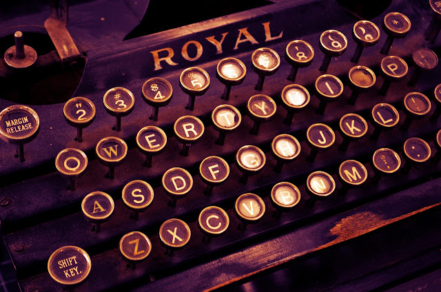 An old Royal typewriter, used for writing business correspondence.