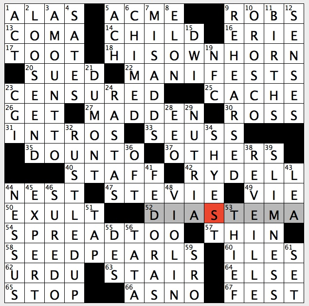 Rex Parker Does The Nyt Crossword Puzzle Centaur Who Was Killed By Hercules Thu 9 14 17 Burrowing South Amercain Rodent Jesse Who Pitched In Record 1252 Major League Games