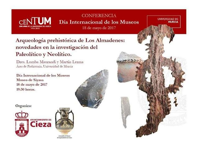 """Conferencia: """"Arqueología prehistórica de Los Almadenes: novedades en la investigación del Paleolítico y Neolítico""""."""