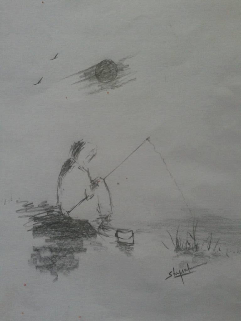 Pencil drawing of a man fishing