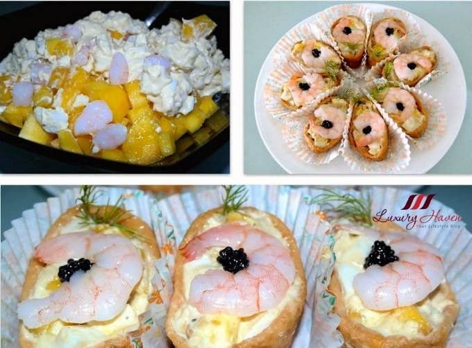 mango prawns inari sushi with caviar recipe
