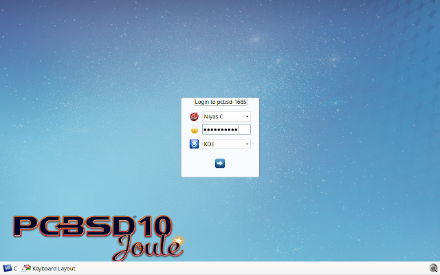 PC-BSD Login screen