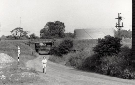 Photograph of Bulls Lane in ???? looking east towards the railway bridge  Photograph by Ron Kingdon, part of the Images of North Mymms collection