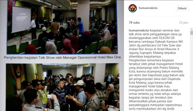 Unggah Foto Pembubaran Kajian Felix Siauw, Akun Instagram Polisi Panen Komentar Pedas