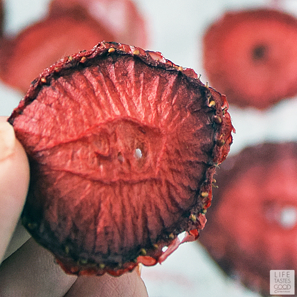 Dried strawberry ready to store for tasty snacks
