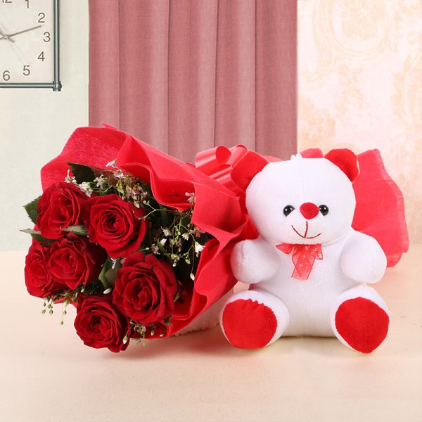 Beautiful Teddy Bear Image with Red Rose Flower