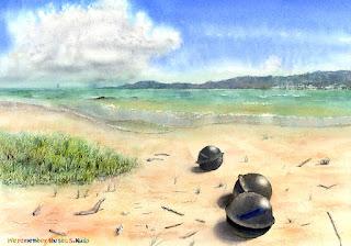 水彩画 海を覚えている(浮き球三兄弟)ビーチに並んだ浮き球3つ Remember the sea. Satoshi Kudo Watercolor