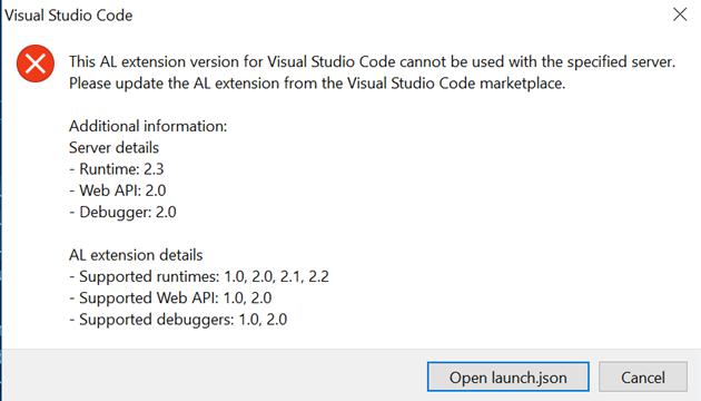 MSDYN365BC - Error This AL extension version for Visual Studio Code