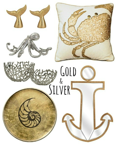 Gold and Silver Home Decor Accessories with a Coastal Beach Theme