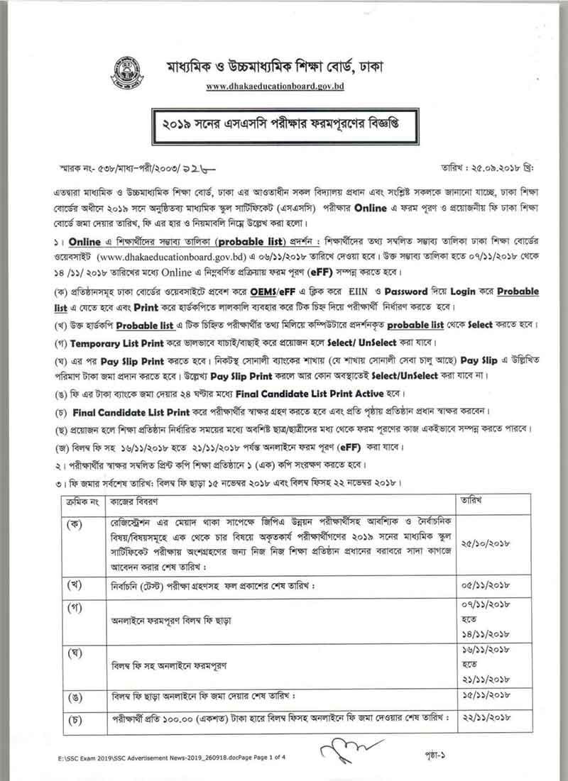 Dakhil Form Fill up Notice 2019