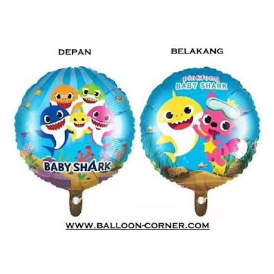 Balon Foil Bulat Baby Shark